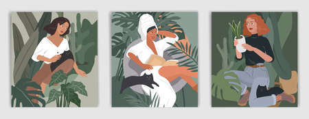 Feminine concept flyers. Happy cute girls resting with cat and home plants. Feminine Daily life by young woman concept. Fashion illustration by female beauty and mental