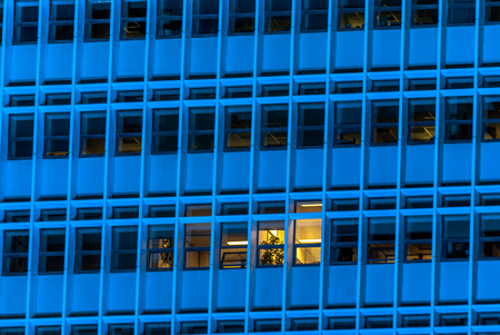 horizontal image, Blue tall building windows