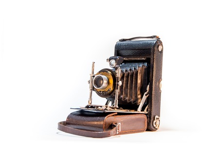 old camera, horizontal isolated image shot taken from right side