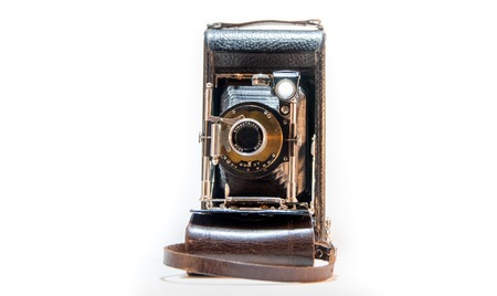 old camera, horizontal isolated image shot taken from front side