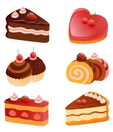 cream pie: Vector yummy cakes collection