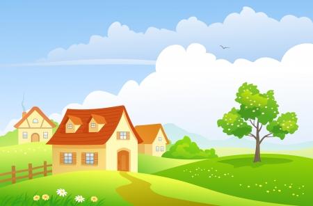 Vector illustratie van een zomer dorp Stock Illustratie