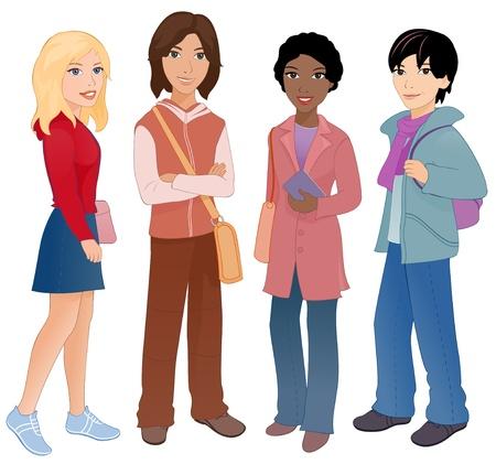 adolescentes estudiando: Ilustraci�n vectorial grupo de estudiantes multi�tnicas lindo