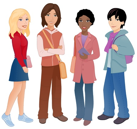 Vector illustration  group of cute multi-ethnic students  Vector