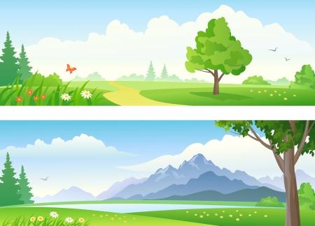 paysage dessin anim�: Vecteur belles banni�res de paysage
