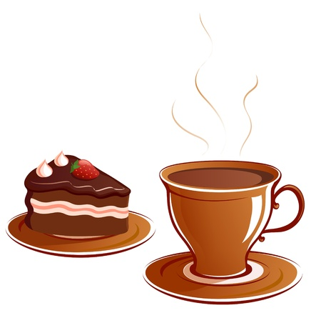 Vector illustration  a piece of cake and a cup Stock Vector - 20108526