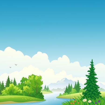 Ilustración vectorial de un río del bosque. Foto de archivo - 20108535
