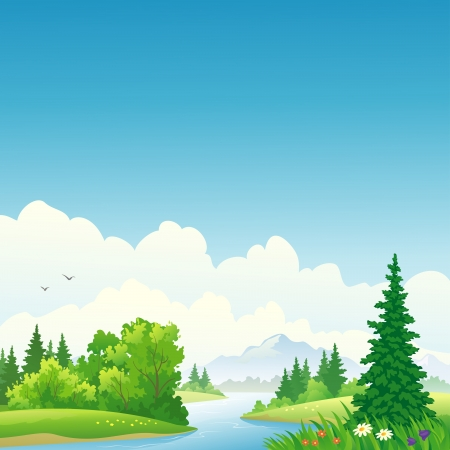 eco tourism: Vector illustration of a forest river.