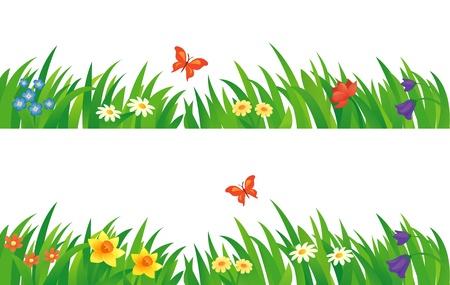 flor caricatura: Conjunto del vector con la hierba y las flores de verano.