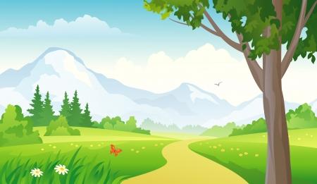 山の風景のベクトル イラスト。