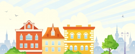 facade and house: Vector town banner.