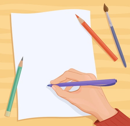 Vector background with a writing or drawing hand. Stock Vector - 20108529