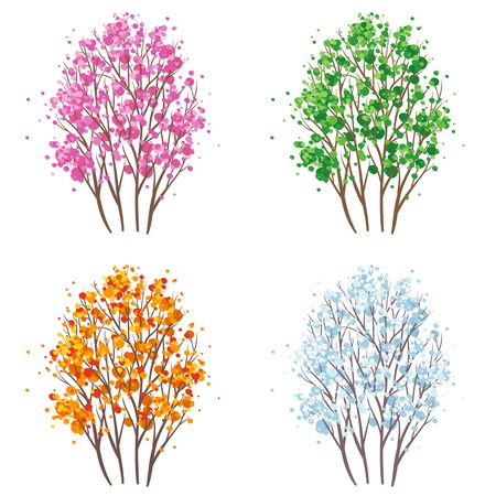 four objects: Vector four seasons tree set.