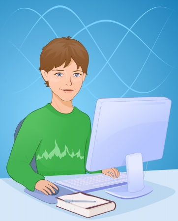 working on school project: Vector illustration: boy working on a computer. Illustration