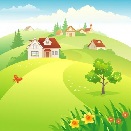 Illustrazione vettoriale: bellissimo villaggio sulle colline