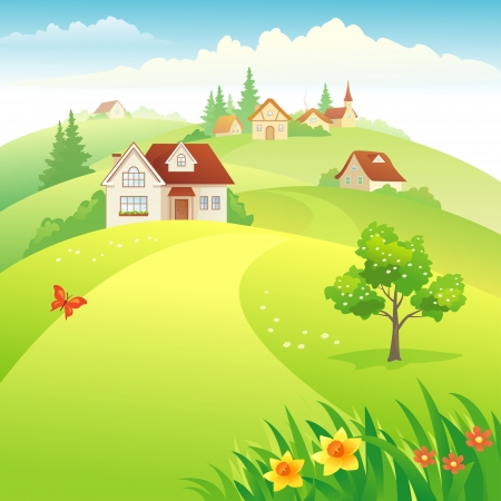 rural road: Vector illustration: beautiful village on the hills