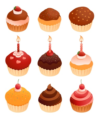 Vector cupcakes collection. Vector