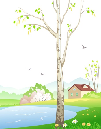 Vector illustration of a spring landscape. Vector