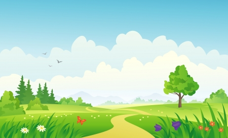 Illustrazione vettoriale di un paesaggio estivo. Archivio Fotografico - 20242647