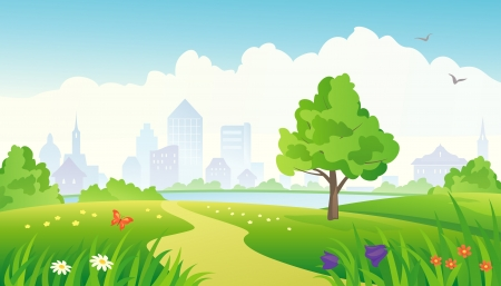 Vector illustration of a summer city park.