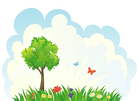 Vector summer nature background. Stock Vector - 20242654