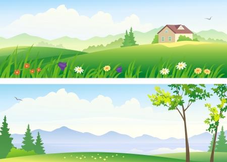 Ilustración vectorial de hermosos paisajes. Ilustración de vector