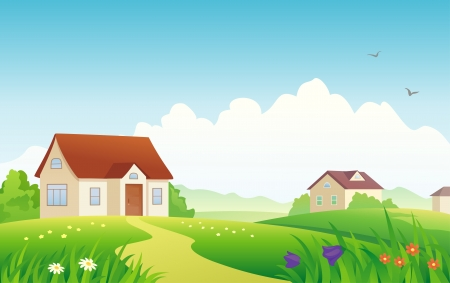 Vector illustratie van een zomer dorp. Stock Illustratie