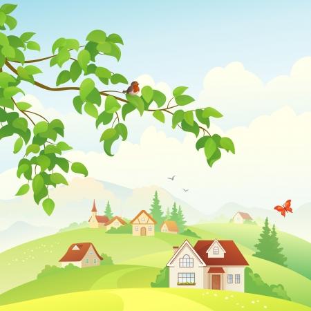 campo: Ilustración vectorial de una hermosa vista al pueblo.