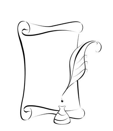 벡터 양피지와 잉크를 양식에 일치시키는. 일러스트