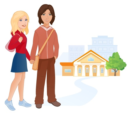 Vector illustration: students couple going to the college.