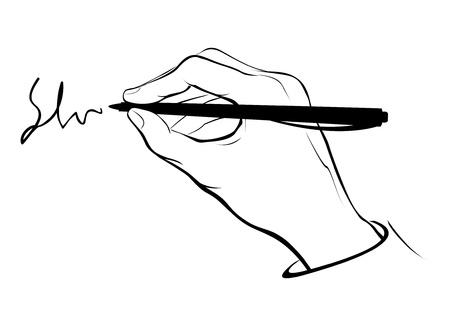 벡터는 서면 또는 서명 손을 양식에 일치시키는. 일러스트