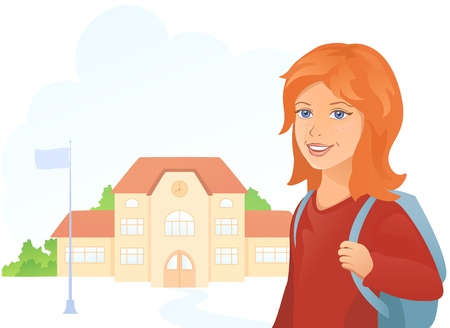 Vector illustration of a girl going to school. Stock Vector - 20366253