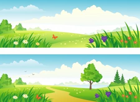 美しい風景バナーをベクトルします。