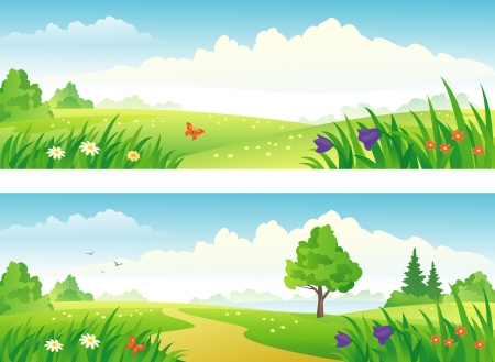 valley: Vector beautiful landscape banners.
