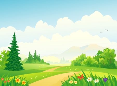 Vector illustration of a forest at the mountains  Иллюстрация