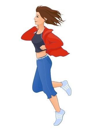 Vector illustration of a jogging girl