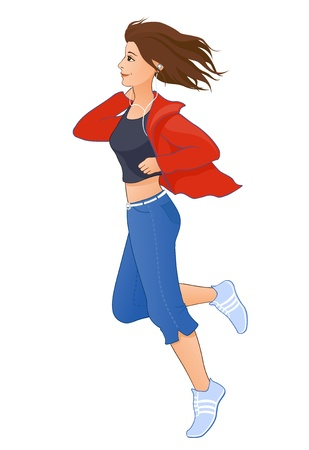 full body woman: Vector illustration of a jogging girl