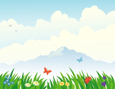 Vector illustration of flowers and grass at the mountains Stock Vector - 20464660