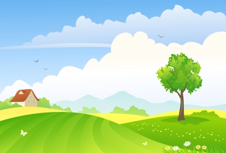 farm cartoon: Vector illustration of green countryside  Illustration