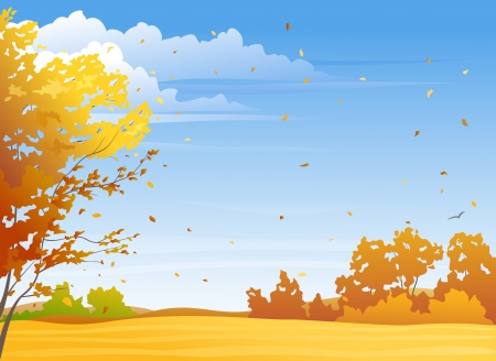 fall landscape: illustration of a nice autumn day