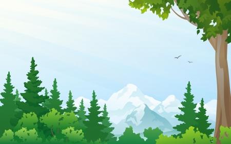 illustratie van een bos in de bergen Stock Illustratie