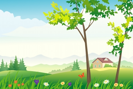illustration of a spring or summer landscape Stock Vector - 21130470