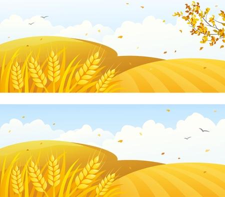 Vector herfst achtergronden met akkers en vallende bladeren