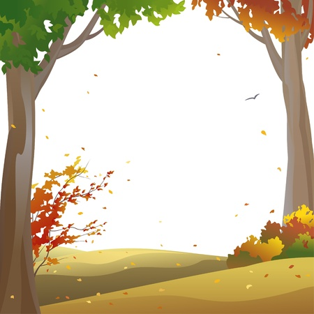 autumn trees: Vector background with autumn trees and falling leaves Illustration