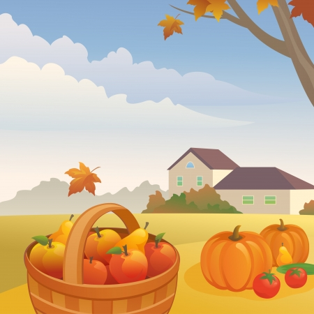 Vector illustration  autumn day at the farm Stock Vector - 21652996