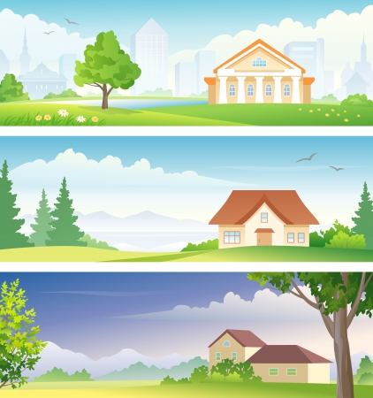 cartoon summer: Vector urban and rural landscapes banners Illustration
