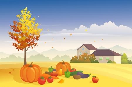 Vector illustratie dag oogst op de boerderij