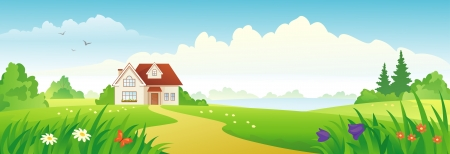 Vector illustration of a green landscape with a house 向量圖像