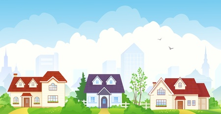 suburbia: Vector illustration of summer suburbs