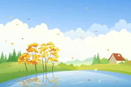 Ilustracja wektora krajobrazu jesieni
